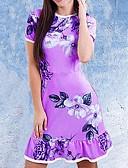 hesapli Tişört-Kadın's Boho Punk ve Gotik Kılıf Elbise - Çiçekli, Büzgülü Püskül Desen Diz üstü