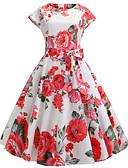 abordables Vestidos de Mujer-Mujer Vintage Elegante Línea A Vaina Vestido - Retazos Estampado, Floral Hasta la Rodilla