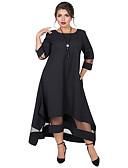 hesapli Büyük Beden Elbiseleri-Kadın's Temel Zarif Çan Elbise - Solid, Örümcek Ağı Kırk Yama Asimetrik