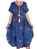 hesapli Büyük Beden Elbiseleri-Kadın's Temel Boho Tişört Çan Elbise - Geometrik, Kırk Yama Desen Diz-boyu