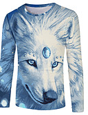 billige T-shirt-Herre - Farveblok / 3D / Dyr Trykt mønster Basale / Gade T-shirt Regnbue US40