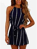 זול סרבלים ואוברולים לנשים-XL XXL XXXL פסים, Rompers ישר שחור כחול נייבי סגנון רחוב בגדי ריקוד נשים