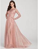 preiswerte Abendkleider-A-Linie Schmuck Pinsel Schleppe Tüll Formeller Abend Kleid mit durch LAN TING Express