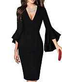 hesapli Kadın Elbiseleri-Kadın's Büyük Bedenler Seksi Flare Kol Kılıf Elbise Desen Diz-boyu / Derin V / Çalışma