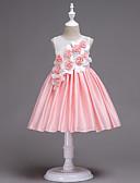 זול שמלות לילדות פרחים-נסיכה באורך  הברך שמלה לנערת הפרחים  - כותנה / סאטן ללא שרוולים עם תכשיטים עם אפליקציות / חגורה / בלוק צבע על ידי LAN TING Express