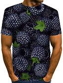 """זול טישרטים לגופיות לגברים-קולור בלוק / 3D / פירות צווארון עגול סגנון רחוב / מוּגזָם מועדונים האיחוד האירופי / ארה""""ב גודל טישרט - בגדי ריקוד גברים דפוס שחור / שרוולים קצרים"""