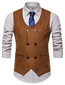 זול ווסטים-100% פוליאסטר דמוי סוויד חתונה / לבוש יומיומי וסטים / עבודה אחיד / צבע אחיד