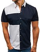 billige Herreskjorter-Herre - Farveblok Patchwork Basale Skjorte Sort XL