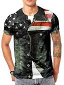 povoljno Muške majice i potkošulje-Majica s rukavima Muškarci - Osnovni Dnevno 3D Duga US40