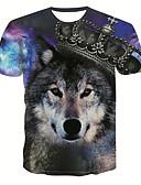 billige T-shirts og undertrøjer til herrer-Herre - 3D / Dyr / Portræt Trykt mønster Basale / Gade T-shirt Regnbue L