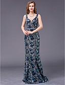 billige Maxikjoler-A-linje Y-utringing Gulvlang Paljetter Formell kveld Kjole med Perlearbeid av TS Couture®