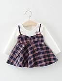 זול שמלות לתינוקות-שמלה שרוול ארוך משובץ בנות תִינוֹק