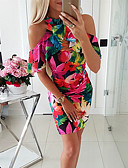 cheap Women's Dresses-Women's Basic Street chic Bodycon Sheath Dress - Floral Print Red M L XL