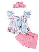 זול שמלות לתינוקות-סט של בגדים ללא שרוולים פרחוני בנות תִינוֹק