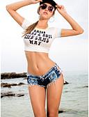 halpa Naisten housut-Naisten Seksikäs Shortsit Housut - Yhtenäinen / Painettu Solmittava Matala vyötärö Puuvilla Musta Keltainen Fuksia M L XL