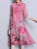 cheap Print Dresses-Women's Chinoiserie Chiffon Dress Print Green Blushing Pink XL XXL XXXL
