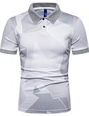 """זול חולצות פולו לגברים-גיאומטרי עסקים האיחוד האירופי / ארה""""ב גודל Polo - בגדי ריקוד גברים לבן / שרוולים קצרים"""