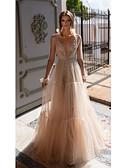 preiswerte Abendkleider-Zweiteiler Tiefer Ausschnitt Boden-Länge Tüll / Pailletten Abiball Kleid mit durch LAN TING Express