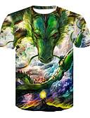 hesapli Erkek Tişörtleri ve Atletleri-Erkek Yuvarlak Yaka Tişört Desen, 3D / Hayvan Temel / Sokak Şıklığı Yonca / Kısa Kollu