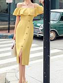 abordables Robes Imprimées-Femme Midi Gaine Robe Vert Jaune M L XL Manches Courtes