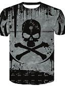 זול חולצות לגברים-3D צווארון עגול מידות גדולות טישרט - בגדי ריקוד גברים דפוס שחור / שרוולים קצרים