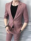 זול ז'קטים-ורוד מסמיק / אפור בהיר פסים גזרה צרה כותנה חליפה - פתוח Single Breasted One-button