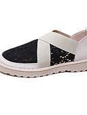 זול שעונים-בגדי ריקוד נשים רשת / PU קיץ יום יומי נעליים ללא שרוכים שטוח בוהן עגולה שחור / בז' / קולור בלוק