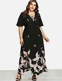 abordables Robes Grandes Tailles-Femme Rétro Vintage Maxi Balançoire Robe - Fendu Imprimé, Géométrique Noir XXL XXXL XXXXL Manches Courtes