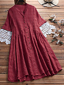 billige Mottakelseskjoler-Dame A-linje Kjole Skjortekrage Midi