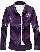 hesapli Erkek Gömlekleri-Erkek Gömlek Çiçekli / Geometrik İş / Çin Stili AB / ABD Beden Siyah / Uzun Kollu