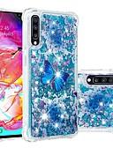 זול מגנים לטלפון-מגן עבור Samsung Galaxy A6 (2018) / A6+ (2018) / Galaxy A7(2018) עמיד בזעזועים / נוזל זורם / שקוף כיסוי אחורי פרפר / זוהר ונוצץ רך TPU