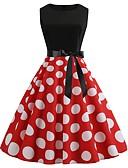 hesapli Vintage Kraliçesi-Kadın's Vintage A Şekilli Elbise - Yuvarlak Noktalı, Kırk Yama Desen Diz-boyu