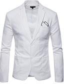 cheap Men's Jackets & Coats-Men's EU / US Size Blazer, Solid Colored Shirt Collar Cotton Black / Wine / Light Blue US32 / UK32 / EU40 / US34 / UK34 / EU42 / US38 / UK38 / EU46