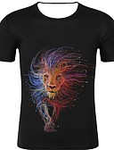 cheap Men's Tees & Tank Tops-Men's Sport Casual Street chic / Exaggerated T-shirt - 3D / Graphic / Animal Print Black US38