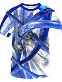 halpa Miesten t-paidat ja hihattomat paidat-Miesten Pyöreä kaula-aukko Painettu Geometrinen / Color Block / 3D Perus / Katutyyli EU / US-koko - T-paita Uima-allas / Lyhythihainen