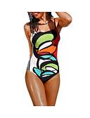 hesapli One-piece swimsuits-Kadın's Boho Gökküşağı Bandeau Slip Külotlar Tek Parçalılar Mayolar - Geometrik Arkasız M L XL Gökküşağı