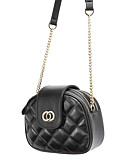 cheap Quartz Watches-Women's Buttons / Chain Crossbody Bag Cowhide Striped Black / Fall & Winter