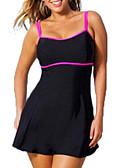 זול בגדי ים במידות גדולות-שחור XXXL XXXXL XXXXXL אחיד קולור בלוק, בגדי ים טנקיני שחור בגדי ריקוד נשים