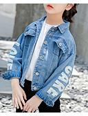 cheap Girls' Tops-Kids Girls' Basic Print Polyester Jacket & Coat Light Blue