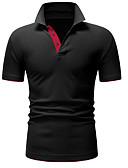 זול טישרטים לגופיות לגברים-קולור בלוק צווארון חולצה בסיסי כותנה, Polo - בגדי ריקוד גברים שחור / שרוולים קצרים