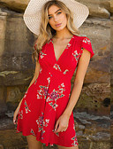 hesapli Mini Elbiseler-Kadın's A Şekilli Elbise - Çiçekli Diz üstü