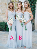 cheap Bridesmaid Dresses-A-Line Off Shoulder / Plunging Neck Floor Length Chiffon Bridesmaid Dress with Ruching by JUDY&JULIA