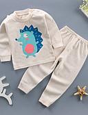 זול שמלות לבנות-סט של בגדים שרוול ארוך אחיד / גיאומטרי בסיסי בנות ילדים