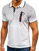 cheap Men's Clothing-Men's Daily Basic / Street chic Slim Polo - Color Block Print Shirt Collar White / Short Sleeve