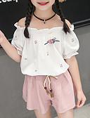 זול שמלות לבנות-סט של בגדים כותנה קצר קצר שרוולים קצרים קפלים / רקום דפוס פעיל / סגנון רחוב בנות ילדים / פעוטות