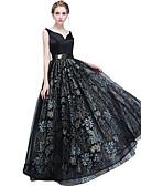 זול שמלות ערב-גזרת A צווארון V עד הריצפה טול ערב רישמי שמלה עם אפליקציות / סרט על ידי LAN TING Express