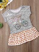 זול שמלות לתינוקות-שמלה שרוולים קצרים דפוס בנות תִינוֹק