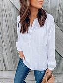 hesapli Gömlek-Kadın's Pamuklu Salaş - Gömlek Şalter / Kırk Yama / Jakarlı, Solid Temel / Zarif Beyaz / Nakış