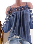 hesapli Gömlek-Kadın's Düşük Omuz Salaş - Gömlek Solid / Zıt Renkli Büyük Bedenler Beyaz