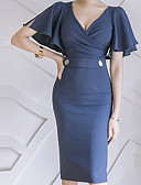 hesapli Kadın Elbiseleri-Kadın's Temel Bandaj Kılıf Elbise - Solid Diz-boyu